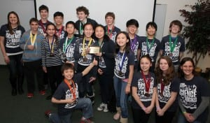 Happy and proud D39 Science Olympiad participants and their leaders at the regional competition this Spring. Congratulations!