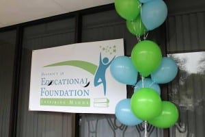 Banner and balloons