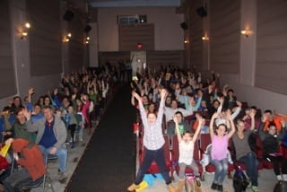 The crowd was excited for the interactive movie experience
